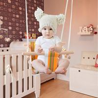 Baby Safety Swing Chair Children Toy Rocking Solid Wood Seat With Cushion For Baby Indoor Room Decor Without Cushion