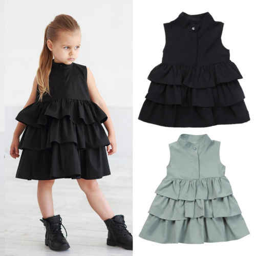 Fashion Toddler Kids Baby Solid Sleeveless Cotton Party Princess Ruffle Tutu Princess Formal Layered Dress Girls Clothes