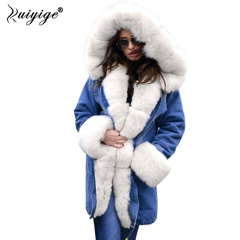 Ruiyige New Winter Jacket Women 2018 Fur Hooded Coats Woman Jeans Coat Winter Long   Parkas   Female Winter Jackets Female Plus Size