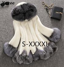 Xnxee Winter Luxury Faux Fox Fur Female Cloak Hooded Coat Mink Bride Wedding Cape Flare Sleeve Outwear