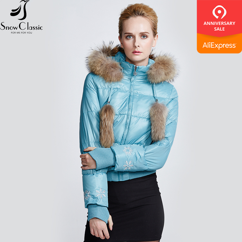 Snow Classic winter jacket women Real Raccoon Fur Collar parkas women short jacket 80% white duck   down     coat   9363