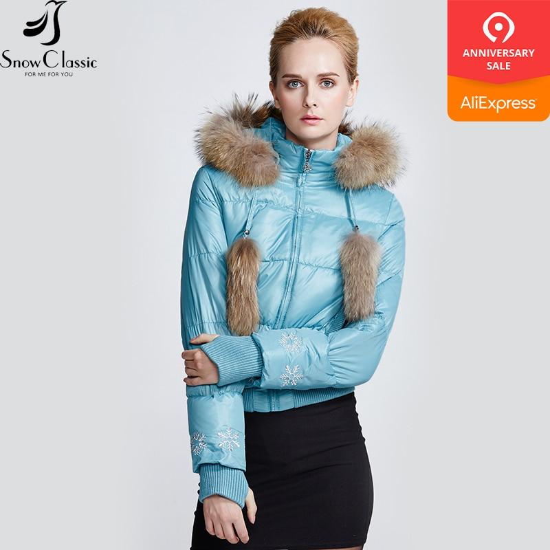 Objective Snow Classic Winter Jacket Women Real Raccoon Fur Collar Parkas Women Short Jacket 80% White Duck Down Coat 9363 Supplement The Vital Energy And Nourish Yin