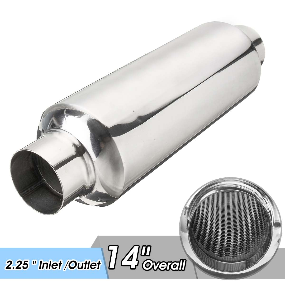 Universal Car Exhaust Muffler Resonator 2.25 Inlet/Outlet Exhaust Tip Pipe Tube Stainless SteelUniversal Car Exhaust Muffler Resonator 2.25 Inlet/Outlet Exhaust Tip Pipe Tube Stainless Steel