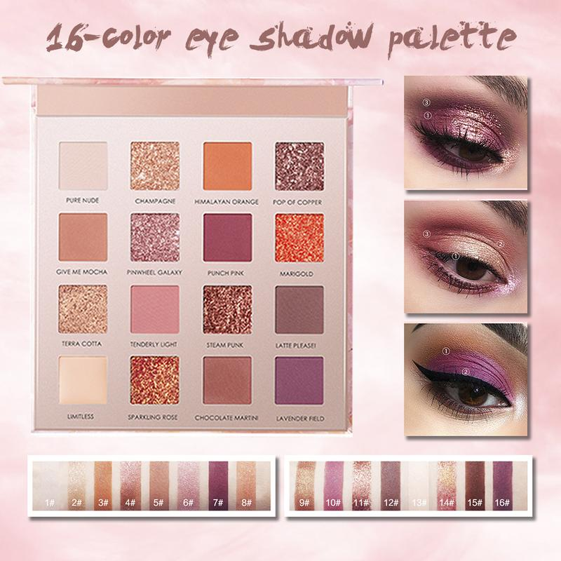 Eye Shadow Shimmer Matte 16 Colors Tray Waterproof Long-lasting Make-up Palette Make Up Beauty Products