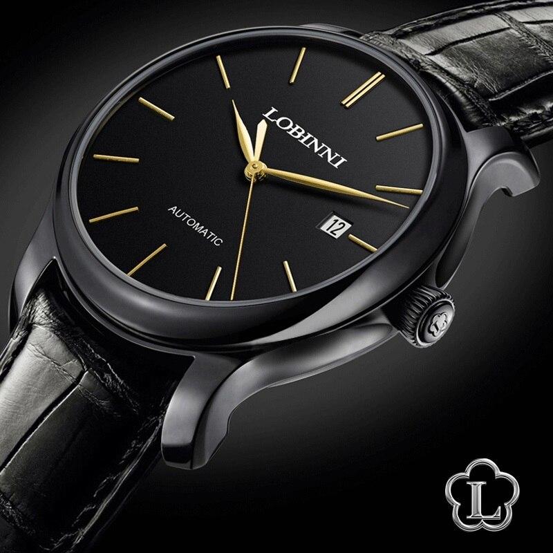 Reloj de marca de lujo LOBINNI reloj hombres Japón Miyota movimiento mecánico automático relojes de hombre zafiro resistente al agua relogia L12035 3-in Relojes mecánicos from Relojes de pulsera    2