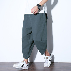#2532 Summer Cotton Linen Wide Leg Trousers Men Elastic Waist 5XL Kimono Pants For Men Casual Vintage Streetwear Sweat Pants