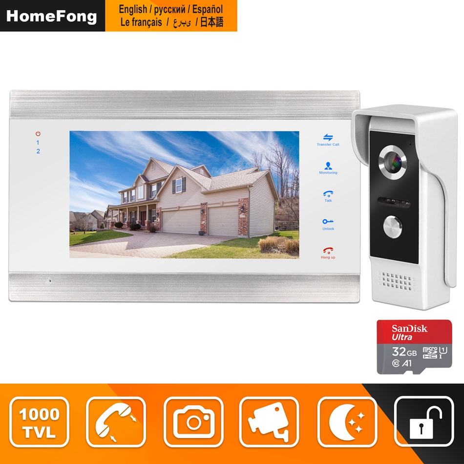 HomeFong Video Door Phone Intercom Wired 7 Inch Monitor Night Vision Doorbell Camera Support Motion Sensor Record Home Intercoms