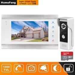 HomeFong vídeo puerta teléfono intercomunicador con cable 7 pulgadas Monitor visión nocturna timbre Cámara soporte Sensor de movimiento registro inicio Intercoms