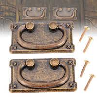 2 Set Antique Drawer Pull Handles Bronze Door Cupboard Cabinet Drop Handle Knob With Screws For Furniture Hardware Accessories