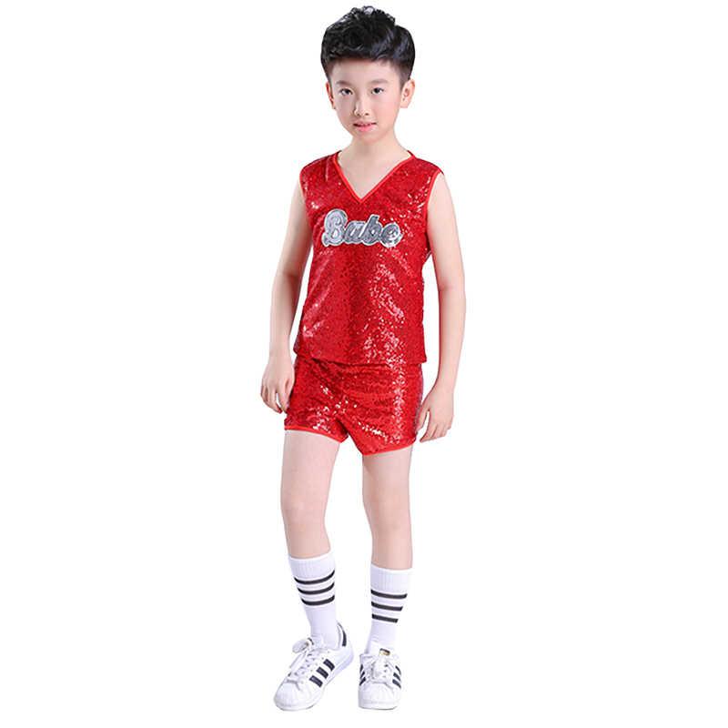 Disfraz de baile de jazz Songyuexia disfraz de baile de hip hop rojo para niña disfraz de porrista para niños trajes de baile para escenario