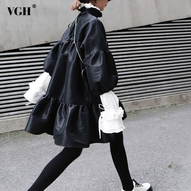 VGH Spring Women Dress Lantern Sleeve Stand Collar Loose Oversize A-line Above Knee Mini Female Dresses 2019 Fashion New Tide