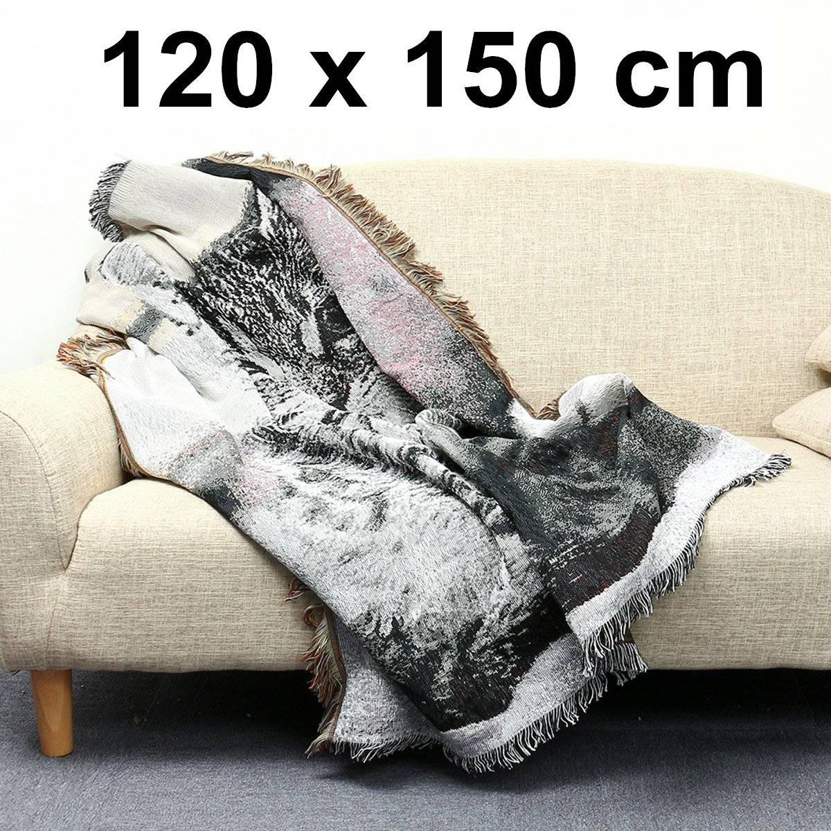 Katoen Black & White Cat Animal Patroon Stoel Sofa Gooien Covers Deken 120x150 Cm Zonden En Botten Versterken