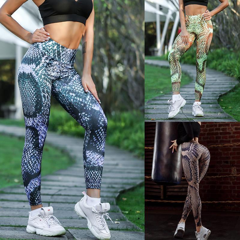 @1  K189235 Штаны для йоги с рисунком змеи  5 бедер  снимающие леггинсы для похудения  спортивные штаны ★