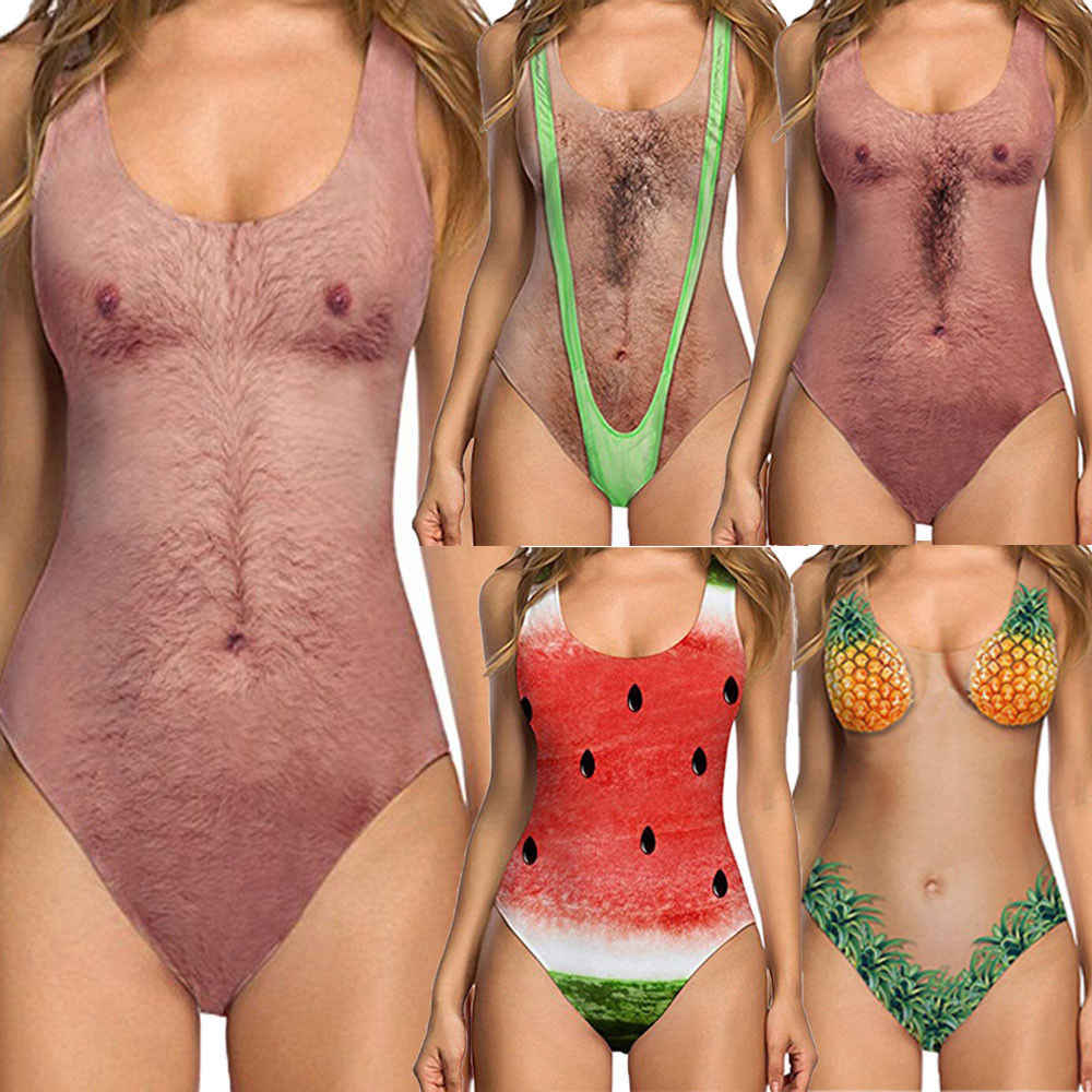 944c6949f0 Summer Personality Style Women One-piece Swimsuit Swimwear Backless Funny  Print Push Up Sexy Hot