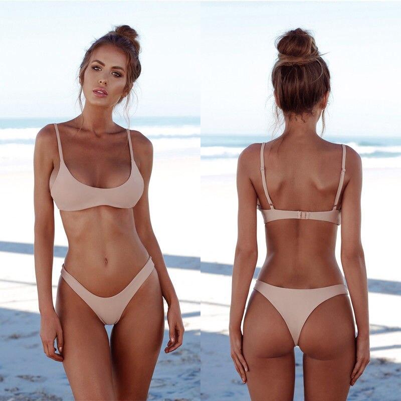 e87cfb64d253 Conjunto de Bikini sólido para mujer de verano push-up sujetador sin ...