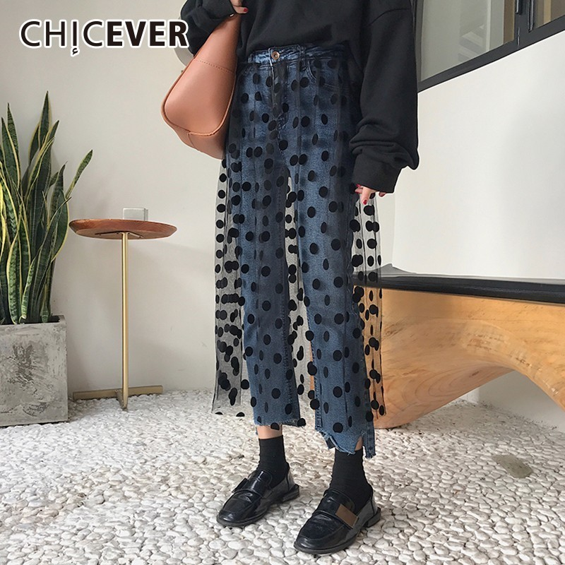 CHICEVER Patchwork Mesh   Jeans   For Women's Pants High Waist Irregular Denim Ankle Length Pants 2018 Autumn Fashion Tide