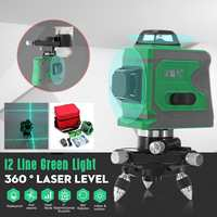 635nm 3D 12 Line Green Light Laser Level Auto Self Leveling 360 Rotary Measure Horizontal Vertical Cross Self Leveling Stability