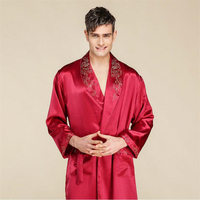 IANLAN Spring Summer Mens Bathrobe 22 m/m Heavy Weight Real Silk Robe Pajamas Long Sleepwear with Waistband Nightgown IL00457A