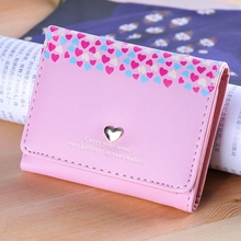 Student Wallet Embossed Love 3 Fold Small Shorts Card Package Ladies
