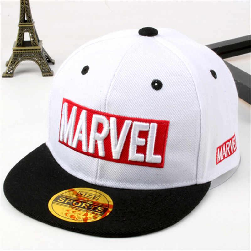 14751929aeb 2018 latest model Marvel children s hat MARVEL letters hip hop hat boys and  girls flat cap