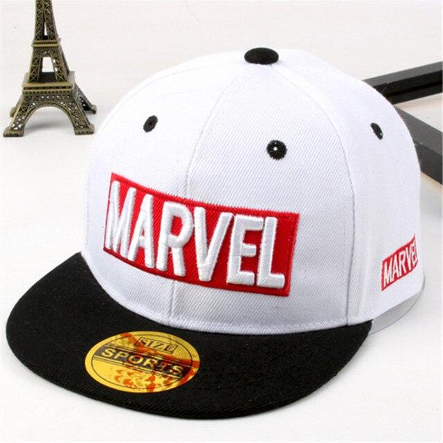 f7f922dbcc53f 2018 latest model Marvel children s hat MARVEL letters hip hop hat boys and  girls flat cap