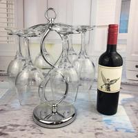 Stainless Steel Wine Glass Hanger Elegant Glass Drying Rack Wine Glasses Rack Stemware Holder Storage with 6 Hooks Multiple