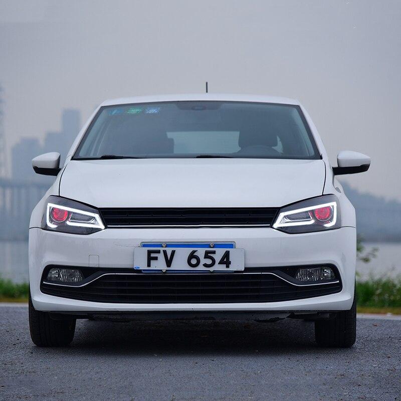 Головной светильник в сборе для Volkswagen Polo 2011- светодиодный Поворотный Светильник СВЕТОДИОДНЫЙ дневной ходовой светильник demon eyes