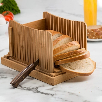 HOT Bamboo Bread Slicer Cutting Guide - Wood Bread Cutter For Homemade Bread, Loaf Cakes, Bagels Foldable And Compact With Cru 1