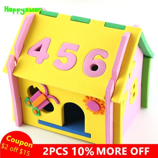 Happyxuan Cute Diy 3d Mushroom Number House Puzzle Model Handicrafts