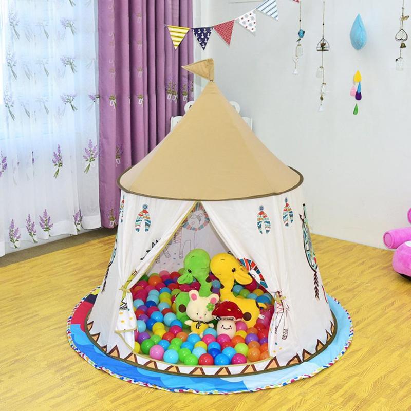 Enfant Tipi Tente Maison 123*116 cm Portable Princesse Château Présent Pour Enfants Enfants Jouent Tente de Jouet D'anniversaire De Noël cadeau
