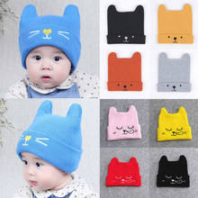 Toddler Infant Baby Knitted Hats Winter Warm Cartoon Horn Cap Beanie Bear Hats Cute(China)