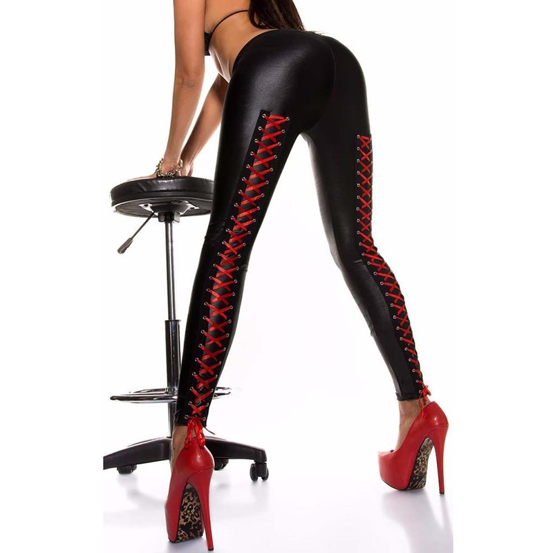 2019 Faux Leather Leggings Women Stretch Fitness Lace Up Red Sexy Skinny Leggins Gothic Ladies Autumn Club Black Legging Push Up