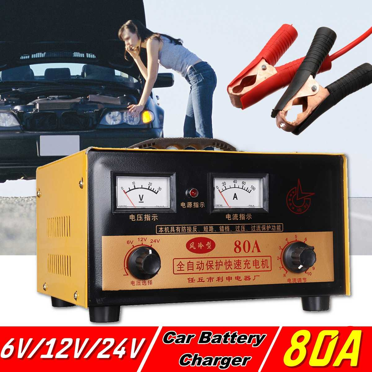 Chargeur de batterie de voiture 6 V 12 V 24 V Entièrement Automatique voiture électrique chargeur de batterie Intelligent Impulsions De Réparation Type 60A/80A pour la voiture
