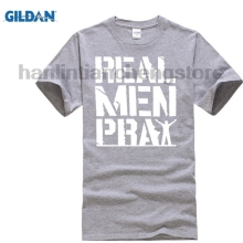 GILDAN Summer 2018 100% Cotton Army T Shirt Real Men Pray T-Shirt Christian Jesus Religious Faith Christ printing On Tee