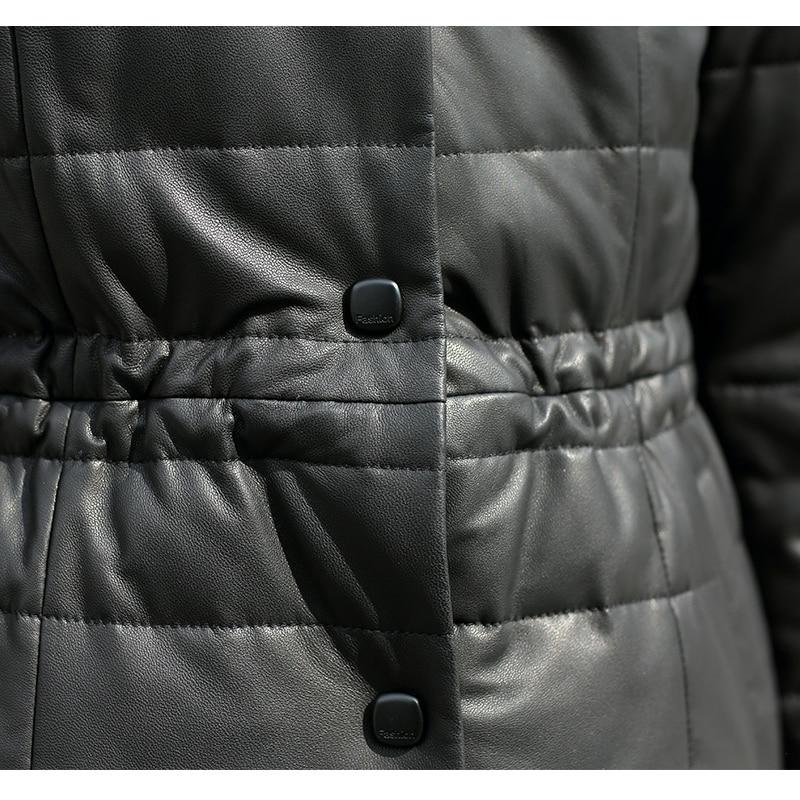 Parka De D'hiver Canard Bas Vers P4838 En Veste Blanc Manteau Duvet Ptslan Le Cuir Véritable Femmes Black 4fC6qn
