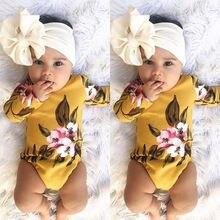Pudcoco/Одежда для девочек; милый комплект из 2 предметов; боди с длинными рукавами для новорожденных девочек; комбинезон с цветочным рисунком; хлопковая одежда