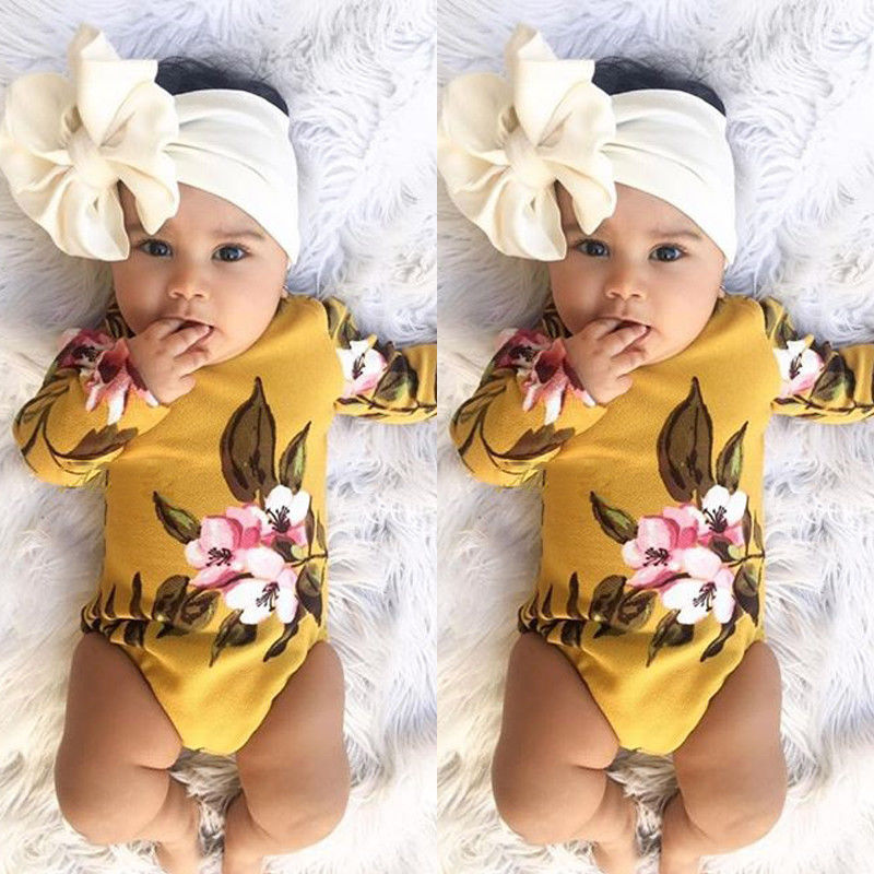 Pudcoco Girl Clothes Cute 2PCS Newborn Baby Girl Long Sleeve Bodysuit Floral Jumpsuit Clothes Cotton Outfits