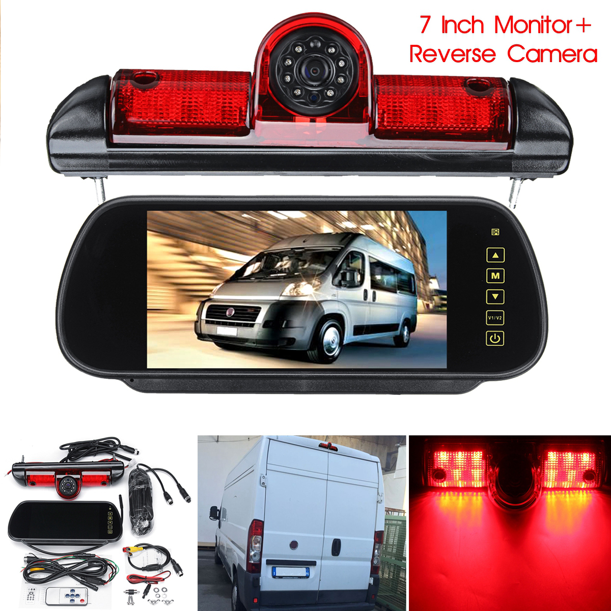 7 LED Monitor + Reversing Backup Rear View Camera w/ Brake Light For Fiat Ducato for Peugeot Boxer for Citroen Relay7 LED Monitor + Reversing Backup Rear View Camera w/ Brake Light For Fiat Ducato for Peugeot Boxer for Citroen Relay
