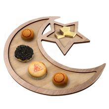 Wooden Crescent Moon Star Eid Ramadan Party Food Serving Tableware Dessert Dinner Plate Home Tray