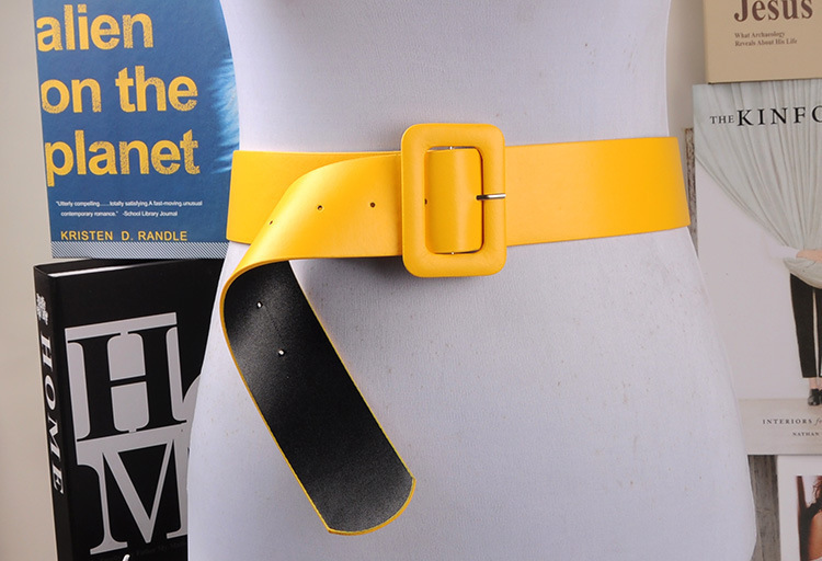 Fashion Ultra Wide Curved Cummerbund Women's Wide   Belt   Cummerbunds   Belts   Yellow Dress Decorate Waistband Strap   Belt