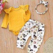 Одежда с цветочным принтом для новорожденных девочек от 0 до 18 месяцев комбинезон с длинными рукавами, футболка Топ и штаны, леггинсы милый комплект одежды принцессы
