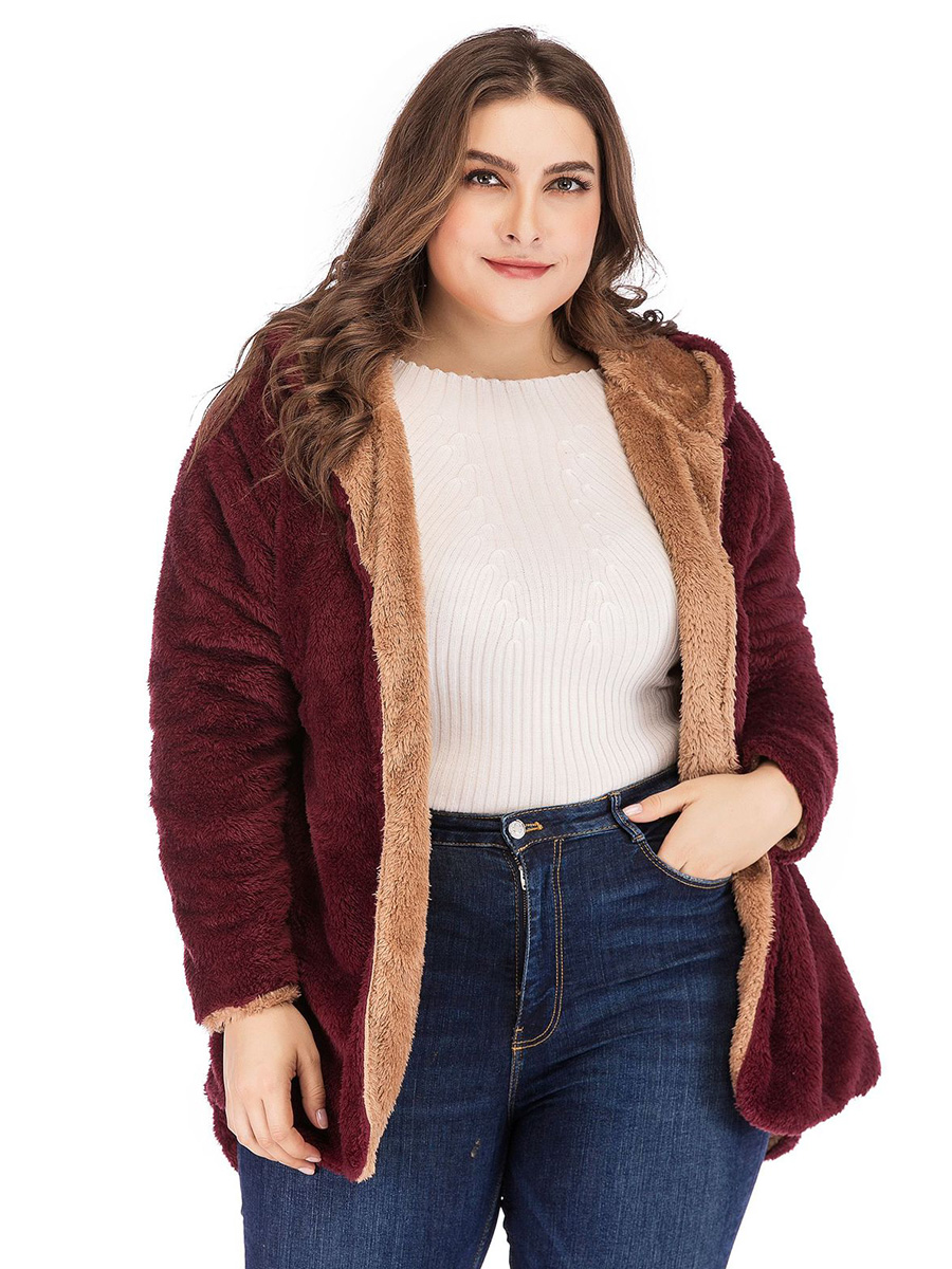 fashion lambswool Women's Casual Plus Size Cardigan Long Sleeve solid thick warm Hooded Jacket ladies Coat girls Outwear Tops