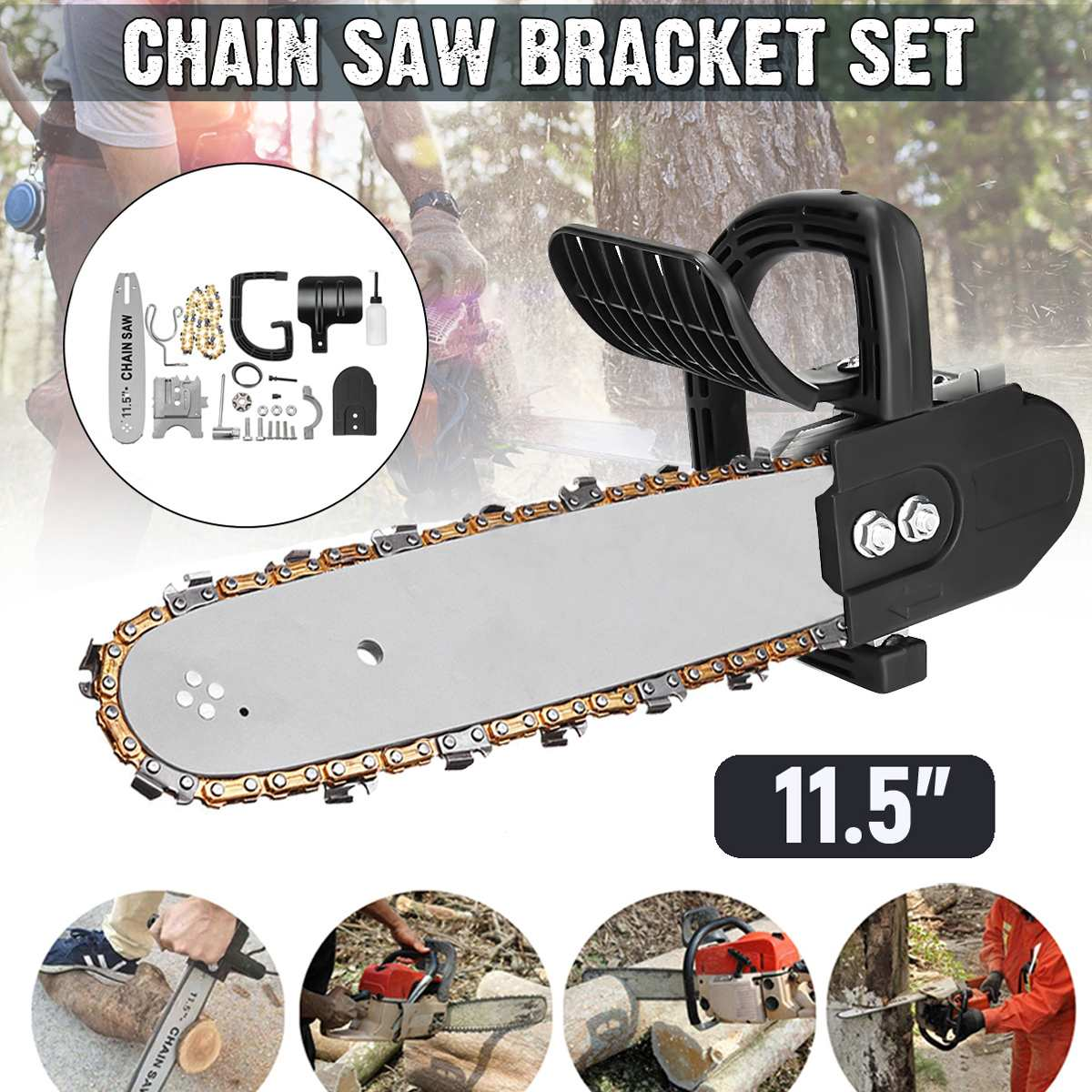 11.5 Inch Woodworking Angle Grinder Chainsaw Bracket Kit Steel Chain Saw Stand Bracket Set Change Angle Grinder into Chain Saw11.5 Inch Woodworking Angle Grinder Chainsaw Bracket Kit Steel Chain Saw Stand Bracket Set Change Angle Grinder into Chain Saw