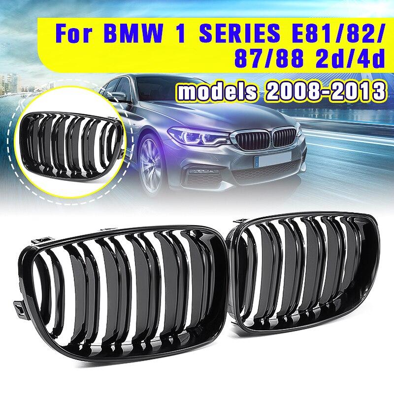 Para BMW E87 1 Série 2008 2009 2010 2011 2012 2013 Par New Gloss Black 2 Ripas de Dupla Linha de Frente rim Corrida Grill Grille