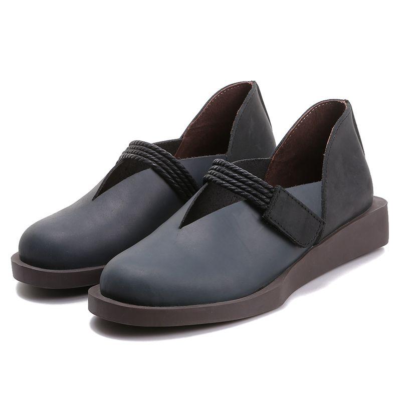 bleu Mocassins Printemps Faible Véritable Beige 2019 Talons Été Cuir Oxfords Décontracté Rétro En Femmes Automne Chaussures Leat De Femelle CqUxXddw