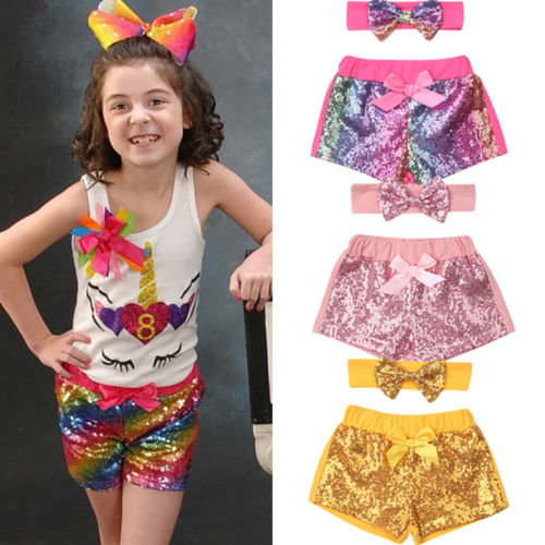 Infant Kids Baby Girl Bow-Knot Party Bling   Shorts   Bottoms Sequin Pants 2PCS Set