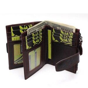 Image 4 - Portefeuille en cuir véritable pour hommes, qualité supérieure, cire dhuile, portefeuille en cuir de vache, porte monnaie pour hommes, fermeture éclair, 100%