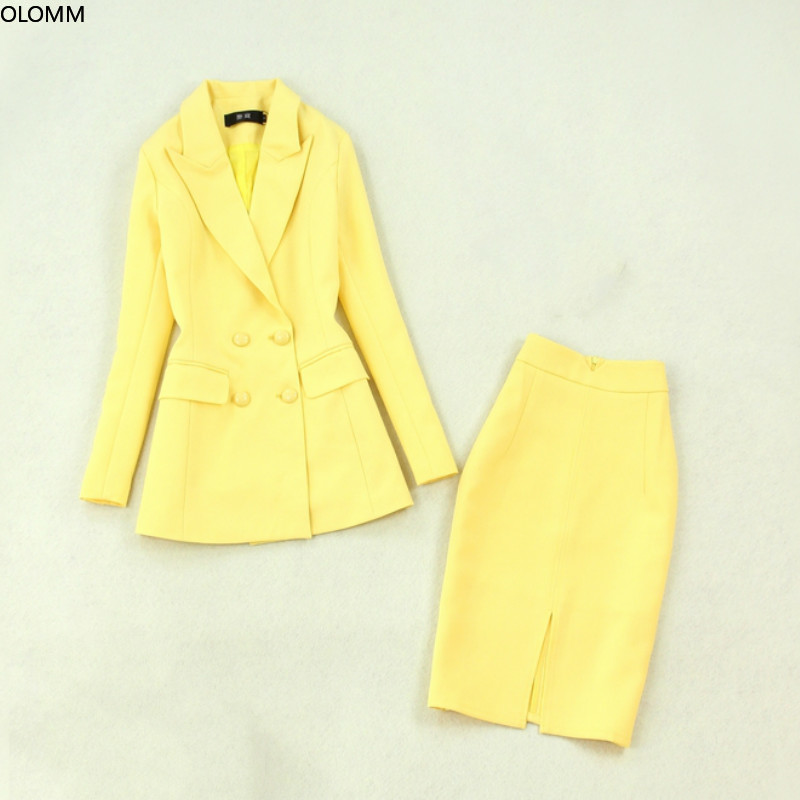 Women's Suits 2019 Autumn New Women's Large Size Yellow Long Section Suit Jacket Slim Bag Hip High Waist Half Skirt Two-piece