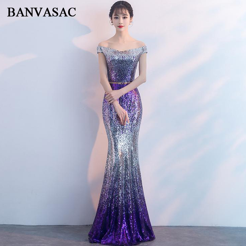 BANVASAC Boat Neck Gradient Color Sequined Mermaid Long Evening Dresses Party Off The Shoulder Backless Prom Gowns