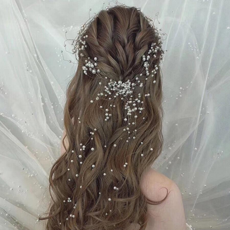 Headbands Jewelry Wire-Hair Wedding-Headdress Pearl Handmade Black Bride's Beautiful